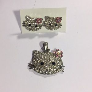 Jewelry - Hello Kitty earrings and necklace charm!